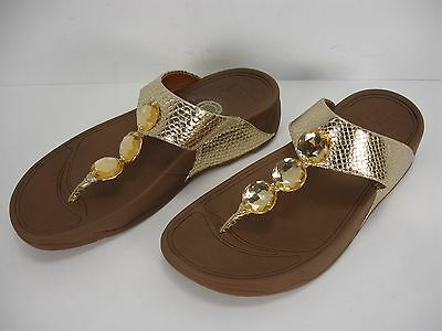 dd73fb4d00de Fitflop Petra 475-308 Gold Snake Embossed Leather Toe Thong Sandals Women s  8