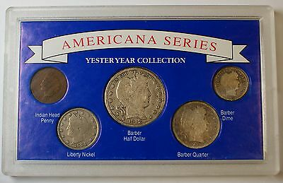 Americana Series Yesteryear Collection, With 3 Silver Barber Coins - Five Total!
