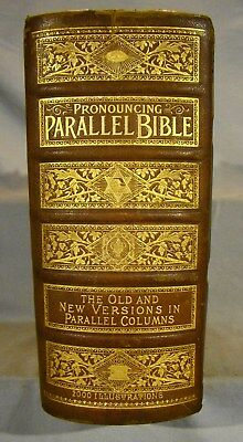 Holy Bible King James & Revised Old & New Hand-colored & Chromolith Plates, Huge