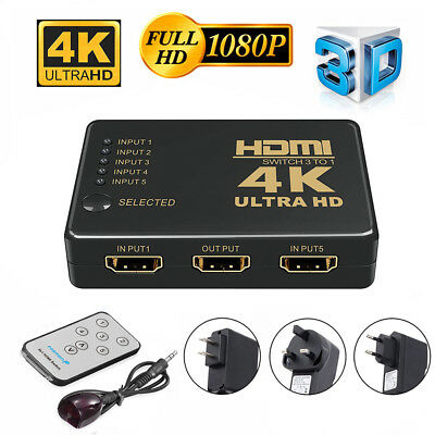 5 Port HDMI 4K Switch Switcher Selector Splitter Hub IR Remote For HDTV SKY-STB