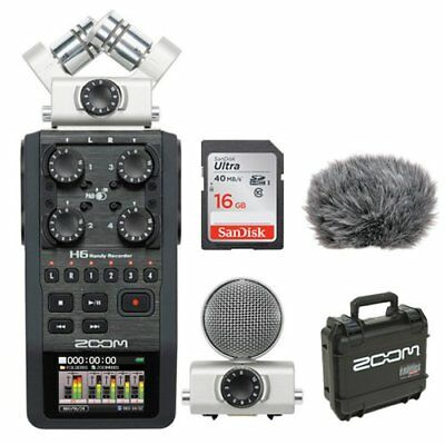 Zoom H6 Portable Recorder Kit with Custom Windbuster + 16GB Memory Card Bundle