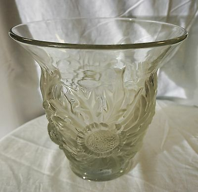 LARGE Heavy CRYSTAL VASE with Frosted GLASS FLORAL PATTERN Very Elegant