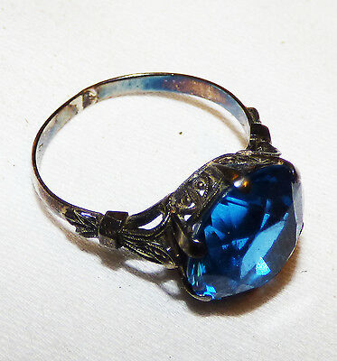 Original BLUE Sapphire RING! Very Nice! Sz 4-5 Sterling Silver Band! Antique