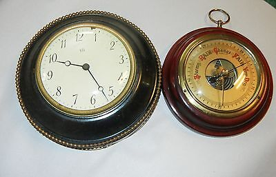 Vintage Antique Clock and Barometer Lot Heavy and Very Old Please see Pictures