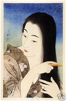Japanese Art Print: Combing Hair - Kotondo Reproduction