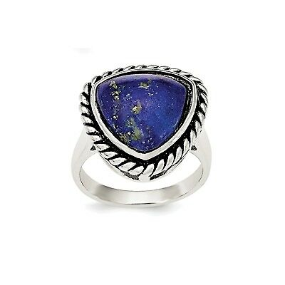 Sterling Silver Lapis Antiqued Ring