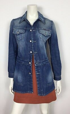info for 7b029 b6a58 DIESEL JACKET AURONS size M jeans giacca lunga denim donna usata blu hot  T2934