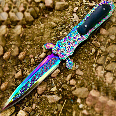 "TheBoneEdge 8.5"" Rainbow Color Medieval Style Spring Assisted Folding Knife"