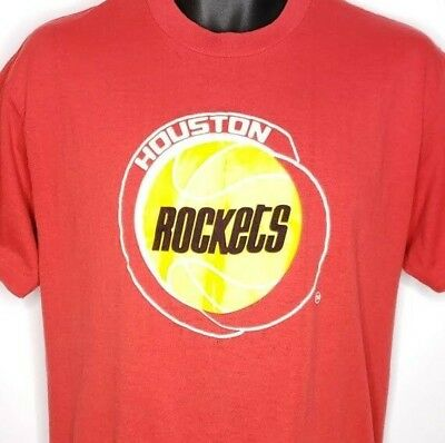 timeless design 350f5 82111 HOUSTON ROCKETS T Shirt Vintage 80s NBA Basketball 50/50 Made In USA Red  Size XL
