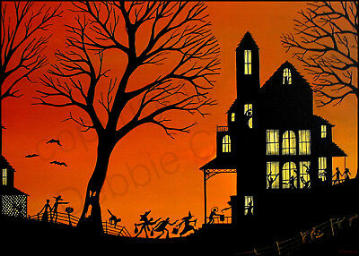 Halloween witch silhouette party black cat Giclee ACEO print folk art Criswell
