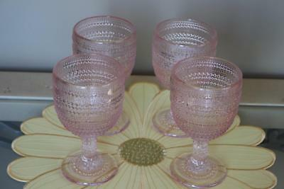 TABLA HOME SPRING VINTAGE INSPIRED KNOBBY FOOTED DRINKING GLASSES(s) -PINK- S/4