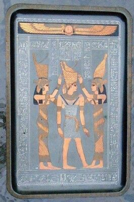 fine old hand etched Egyptian copper wall plate God Osiris