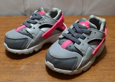 f922575c1416 Nike Huarache Run Gray hot pink Infant Sneakers Size US 5C