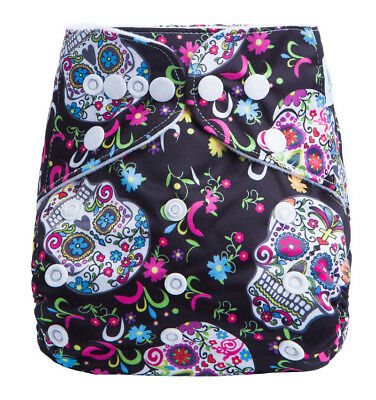 Modern Cloth Reusable Washable Baby Nappy & Insert, Pretty Rainbow Sugar Skulls