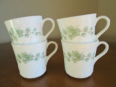 "4 Corelle Corning ""Callaway Ivy"" Swirl Tea / Coffee Cups / Mugs"