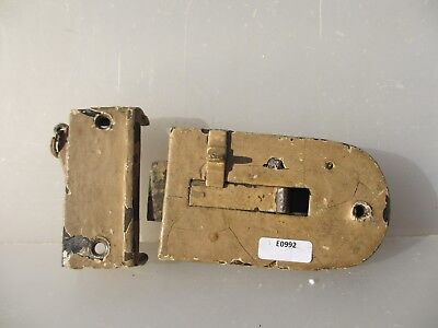 Vintage Iron Door Latch Lock Wooden Knobs Handles Brass Plate Bathroom Bolt Old