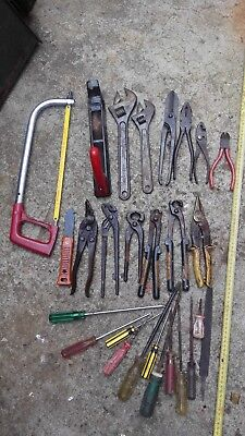 one steel toolbox (no clip)+ tools: screwdrivers pliers snipes shears wrench
