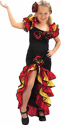 Kids Rumba Girl Spanish Flamenco Dancer Fancy Dress Book Week Size 4-15 Years
