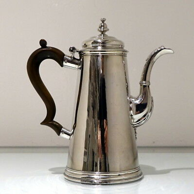 18th Century Antique George II Sterling Silver Coffee Pot London 1735 Tho Farren