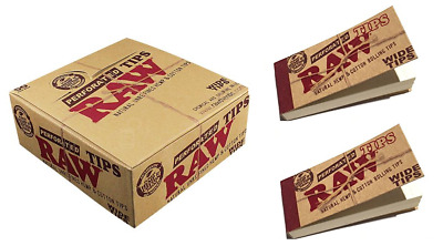 RAW Perforated Wide Tips - 20 PACKS - Natural  Cotton - 50 Tips Per Pack