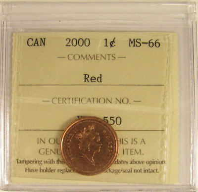 2000  Canada 1 Cent  ICCS graded MS-66;  RED (small cent or penny)