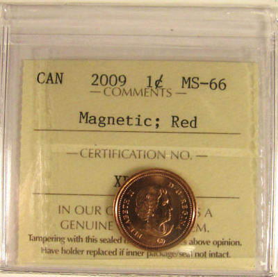 2009 Magnetic  Canada 1 Cent  ICCS graded MS-66;  RED (small cent or penny)