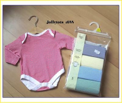 Baby Boys Girls 5 x Striped Long Sleeve Vests Bodysuits Rompers Age Upto 1 Month