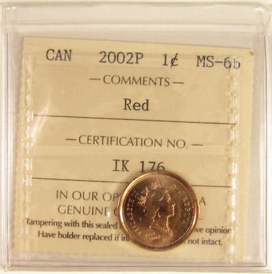 2002P   Canada 1 Cent  ICCS graded MS-66;  RED (small cent or penny)