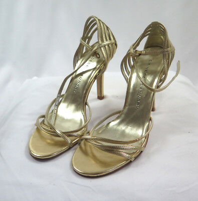 5ce65afcb7d CHINESE LAUNDRY GOLD Leather Strappy Sandals 6
