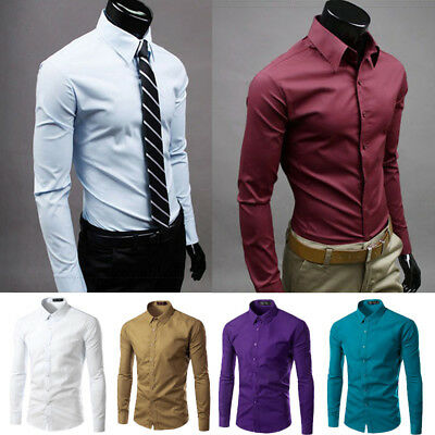 Men's Casual Dress Shirt Slim Fit T-Shirts Formal Long Sleeve Tops Luxury Hot