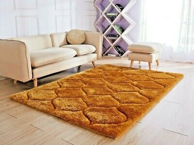 New Thick Silky Soft Shaggy Rug Modern Design Mustard Ochre Contemporary Rugs