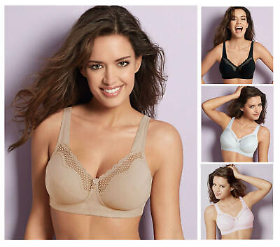 Bestform Cotton Comfort 535 Non Padded Non Wired Bra Black White Nude
