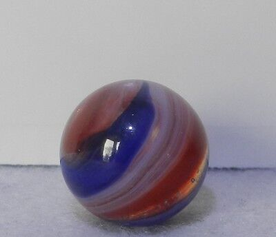 #8663m Vintage Akro Agate Red White Blue Popeye Marble .61 Inches *Near Mint*