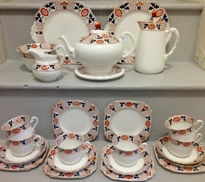 Tuscan China TEA SET FOR 6 Teapot Included 1930s Porcelain