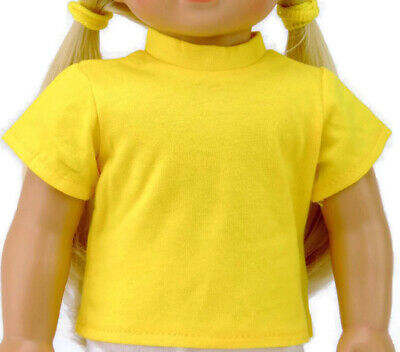 """Doll Clothes fits 18"""" American Girl BRIGHT Yellow T-Shirt"""