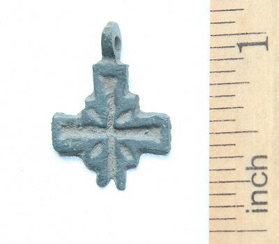 Ancient Old Bronze Rare Casting Cross. Viking Age. (FBB02)
