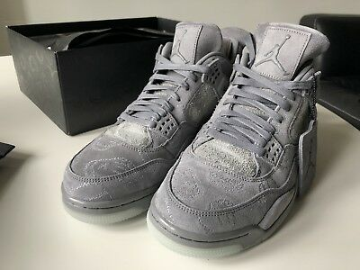 designer fashion e44a1 de2d8 Nike Air Jordan 4 IV Retro KAWS SZ 10.5 Cool Grey Suede Glow In Dark 930155