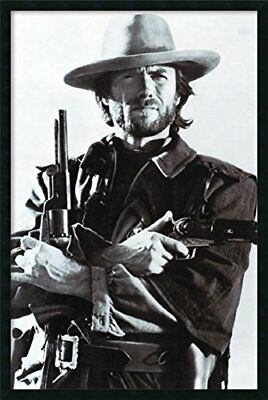 FRAMED Clint Eastwood Crossed Guns 36x24 Western Movie Poster