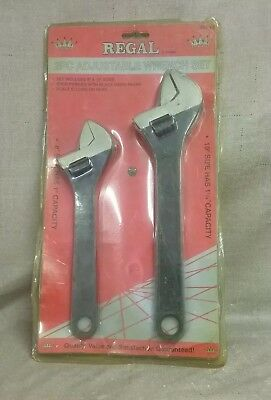 """New Regal 2pc 8"""" & 10"""" Adjustable Wrench Set 99240"""