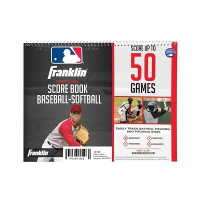 Franklin Official 50 Game Baseball Softball Score Book, 16 Players & Pitch Count