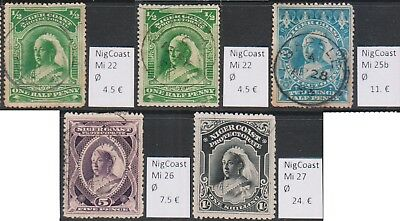 Niger Coast - Oil River 1894 5 Perfect cancelled stamps Mi 22-27 Used Rare