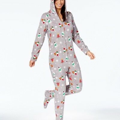 8e14071920 Macy s Family PJs Gray Snowman Elf Christmas Womens Hooded Footie Pajamas L  XXL