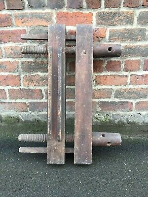 Large Solid Chunky Antique Vintage Wooden Bookbinding Laying Press
