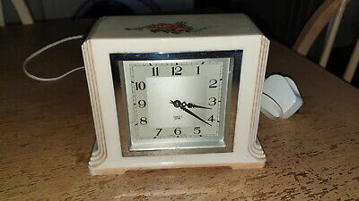 Rare Smiths Sectric White Bakelite Deco Clock With Flower Print / Working Order