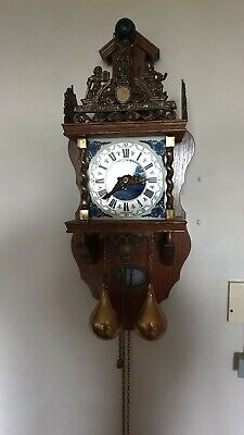 Vintage Brass / Wood Nu Elk Syn Sin Globe Wall Clock Delft Striking Hermle Ucw