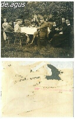 Vintage damaged Photo circa 1920s people sitting at table , garden,soldiers,nuns