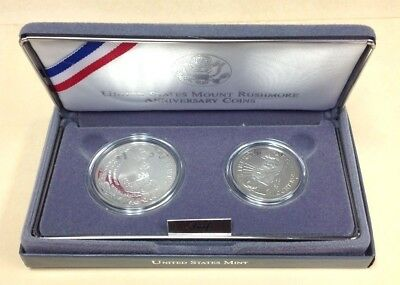 1991 USA Mount Rushmore Anniversary Silver Commemorative Proof 2 Piece Set