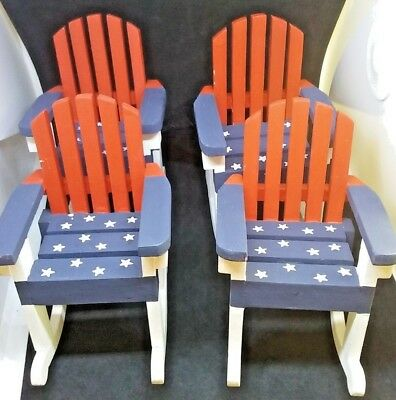 Pleasing Mini Small Adirondack Red White Blue Rocking Chairs Set Of 4 Pdpeps Interior Chair Design Pdpepsorg