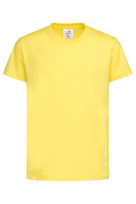 Boys Kids Childrens Childs Plain YELLOW Cotton Short Sleeve T-Shirt Tee Shirt