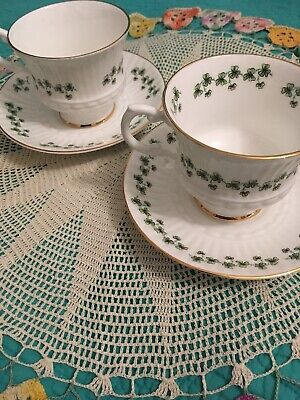 Vintage Sets Of 2 Claddagh China/Royal Tara Shamrock Cup & Saucer